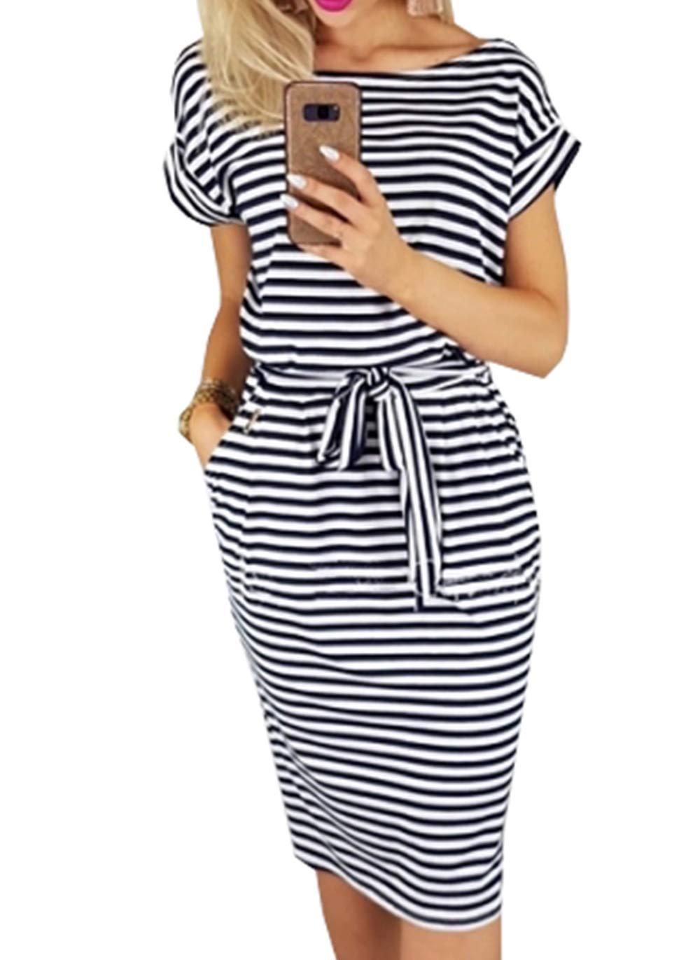 PRETTYGARDEN Women's 2019 Casual Short Sleeve Party Bodycon Sheath Belted Dress with Pockets (U-Black, Medium)