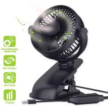 USB Powered Desk Fans, KINGXBAR 360° Rotate USB Fan Clip On Stroller Fan Quiet Portable Cooling Table Fan with 3 Speeds for Car Office Room Outdoor Household Traveling Camping