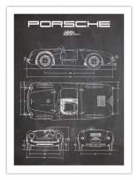 Porsche 550 Spyder Poster Chalkboard (18 x 24)