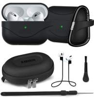 AirPods Pro Case 2020 Upgraded, KMMIN Original Seamless Protective Cover AirPods Pro, Silicone Case Fits AirPods Pro Dust-Proof Scratch-Proof, Wired/Wireless Charging Available [Front LED Visible]