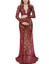 Molliya Maternity Long Dress Off Shoulder Long Sleeve Elegant Fitted Gown Stretchy Maxi Photography Dress
