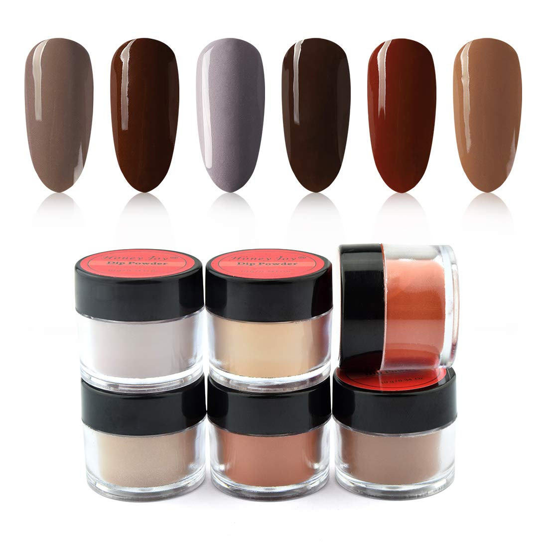 6 Box/Set Fine Dipping Powder Dark Brown Coffee Grey Colors No Need Lamp Cure Dip Powder Nails,Like Gel Polish Effect, Even & Smooth Finishing (12-18-96-143-144-145-10g/box)