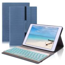 iPad 10.5 Keyboard Case for iPad Air 3rd Gen 2019- iPad Pro 10.5 2017,D DINGRICH 7 Color Backlit- Wireless Bluetooth Keyboard- Trifold Slim Stand Cover- Auto Sleep/Wake (Dark Blue)