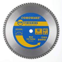 COMOWARE Circular Miter Saw Blade- 10 inch 80 Tooth, ATB Premium Tip, Anti-vibration, 5/8 inch Arbor Light Contractor and DIY General Purpose Finishing for Wood, Laminate, Plywood & Hardwoods