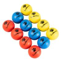 SCENEREAL Floatable Dog Rubber Ball 12 Packs - Floating Fetch Toy - Pet Racquetball 3 Pure Colors Safe Non-Toxic Training Toy for Dogs, High Elastic and Floating on Water, 1.77 Inch in Diameter