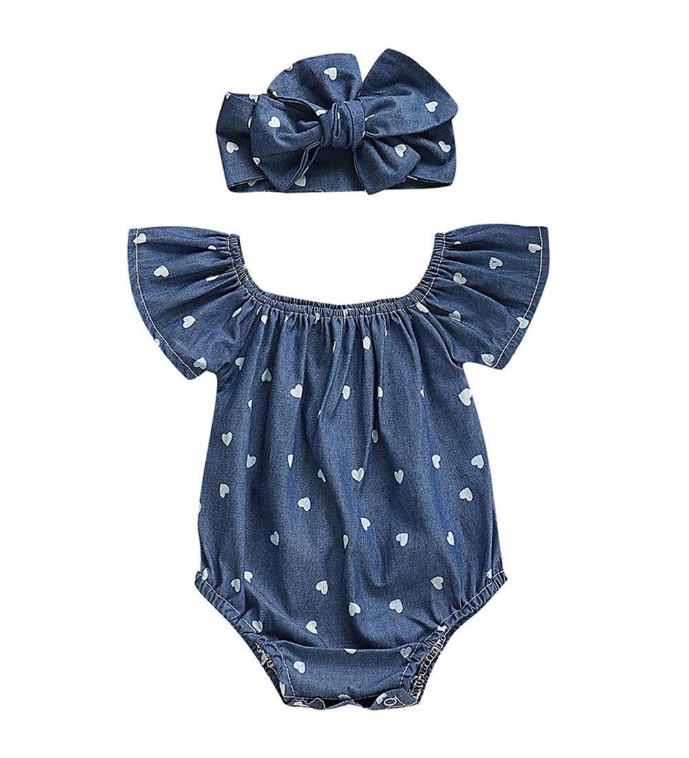 Wassery Infant Baby Girl Romper Bodysuit One-Piece Heart Demin Jumpsuit Headband Summer Clothes