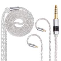FDBRO 8 Cores Silver Plated Earphone Cable Metal Plug with Carbon Fiber Upgrade Cable for Mania Ear-Hook Type Replacement Cable for UM3X ES3 ES5 W4R ZS5 ZS6 ZS10 ZST ZSR (0.78mm 2PIN, Silver+4.4mm)