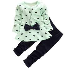 Kids Baby Girls Clothes Cute Heart-Shaped Print Bow Tops T Shirt + Pants Leggings 2Pcs Outfits Sets