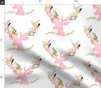 Spoonflower Fabric - Pink Floral Deer Woodland Baby Girl Flowers Pastel Wedding Printed on Denim Fabric by The Yard - Bottomweight Apparel Home Decor Upholstery