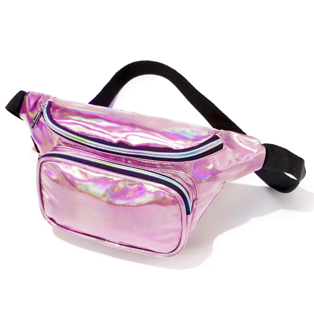 Fanny Pack, F-color Holographic Iridescent Fanny Pack for Women, Rose Gold