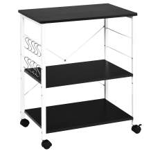 3-Tier Rolling Utility Storage Cart on Wheels, Heavy Duty Multipurpose Trolley Cart for Office, Kitchen, Coffee Bar, Bathroom, Black