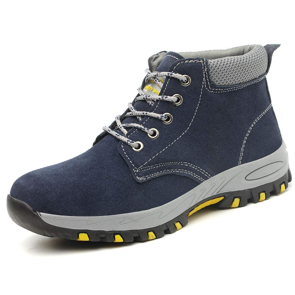 YING LAN Steel Toe Safety Boots Mens Womens Industrial Construction Puncture Proof Work Shoes Non-Slip Protective Footwear