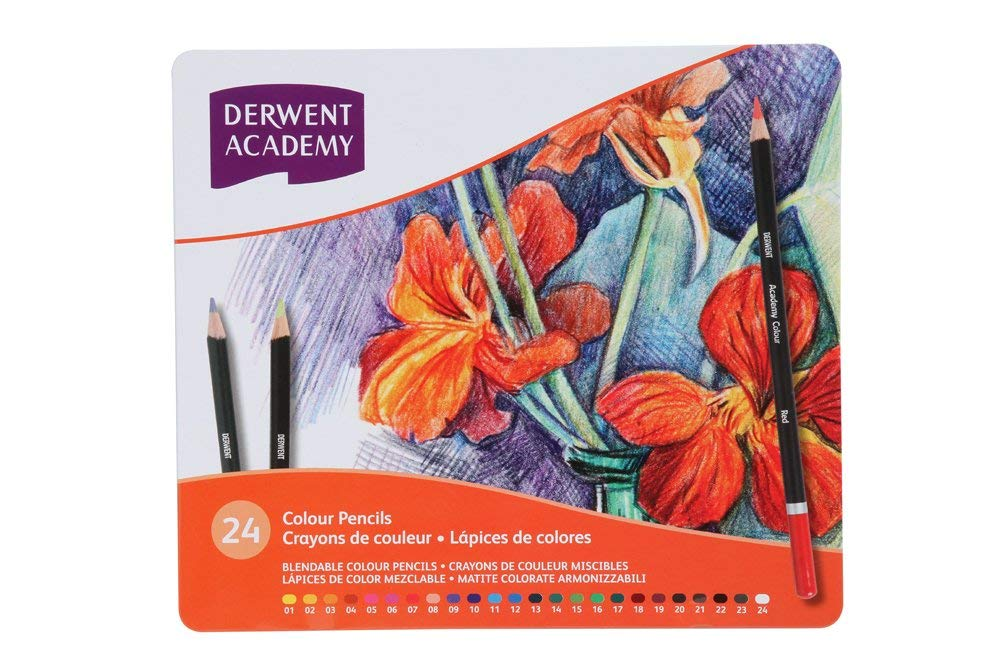 Derwent Academy Colored Pencils, 3.3mm Core, Metal Tin, 24 Count (2301938)