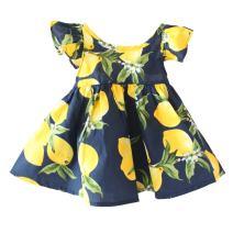 Baby Girls Dress Lemon Floral Sleeveless Sundress Infant Princess Summer Vest Dress