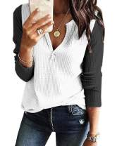 Women's V Neck Waffle Knit Henley Tops Casual Long Sleeve Pullover Sweater Blouses (YY Black, Small)