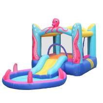 Inflatable Water Slide Park with Air Blower, Octopus Inflatable Play Center Jumping Castle, Heavy-Duty Nylon Bounce House for Outdoor Fun - Slide, Bouncer & Splash Pool – Easy to Set Up (Multicolour)
