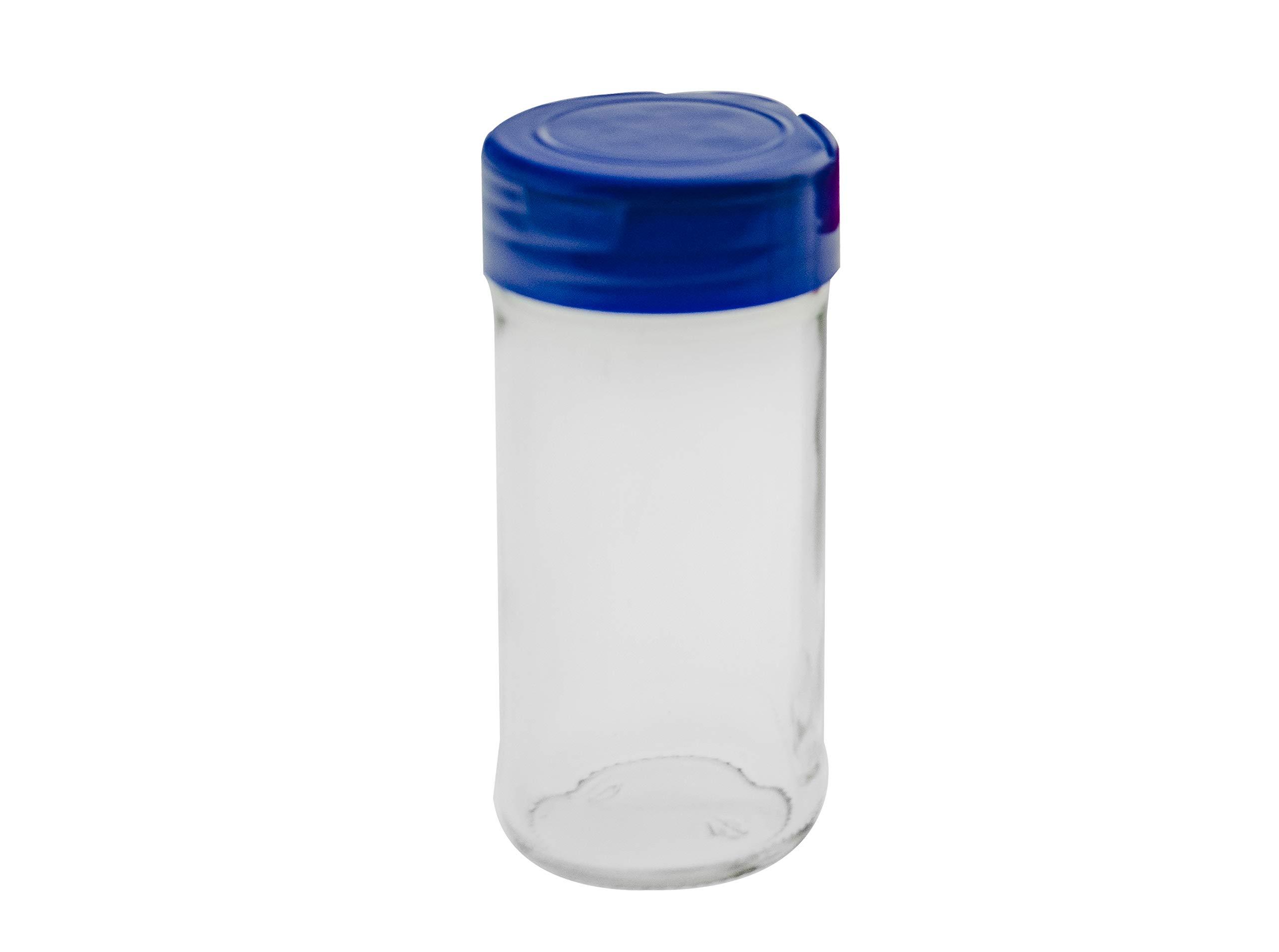 Marketing Holders Empty Bottle for Spice Seasoning Storage Cylinder Salt Shaker Dry Herb Container Jar 4 oz Blue Lid Qty 2