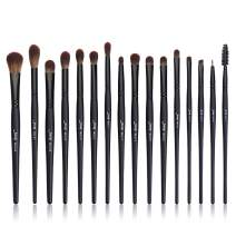 Jessup Eye Brushes Set, Vegan Makeup Brushes with Concealer Powder Eyeshadow Blending Eyeliner Spoolie Brush, 16pcs Premium Synthetic Black Cosmetic Brush T272