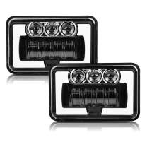 CO LIGHT 2pcs 4x6Inch LED Headlights Hi/Lo Sealed Beam 75W Amber Halo DRL Rectangular Replacement H4651 H4652 H4656 H4666 H6545 Compatible with Peterbilt Kenworth Freightinger Probe Oldsmobile Cutlass
