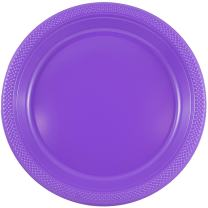 JAM PAPER Round Plastic Party Plates - Medium - 9 inch - Purple - 20/Pack