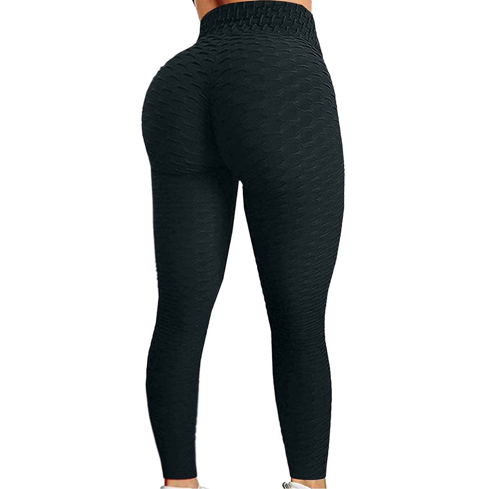 ZEFOTIM Yoga Pants for Women Butt Lifting,Bubble Hip Anti Cellulite Legging High Waist Tummy Control Yoga Tights