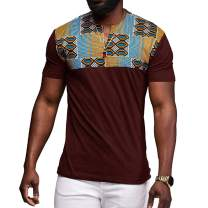 HEQU Men's Short Sleeve African Dashiki Graphic Hipster Hip Hop Curved Hem T-Shirt