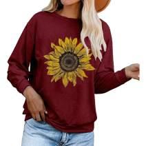 Aurgelmir Women's Cute Graphic Sweatshirts Sunflower Print Long Sleeve Crewneck Casual Pullover Tops (Burgundy,M)