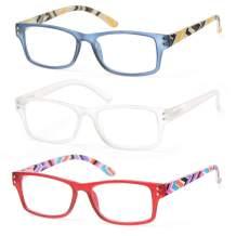 Reading Glasses Lightweight Readers For Women Flexible Spring Hinge Temple Designer Comfortable Varied Strength 3 Pairs