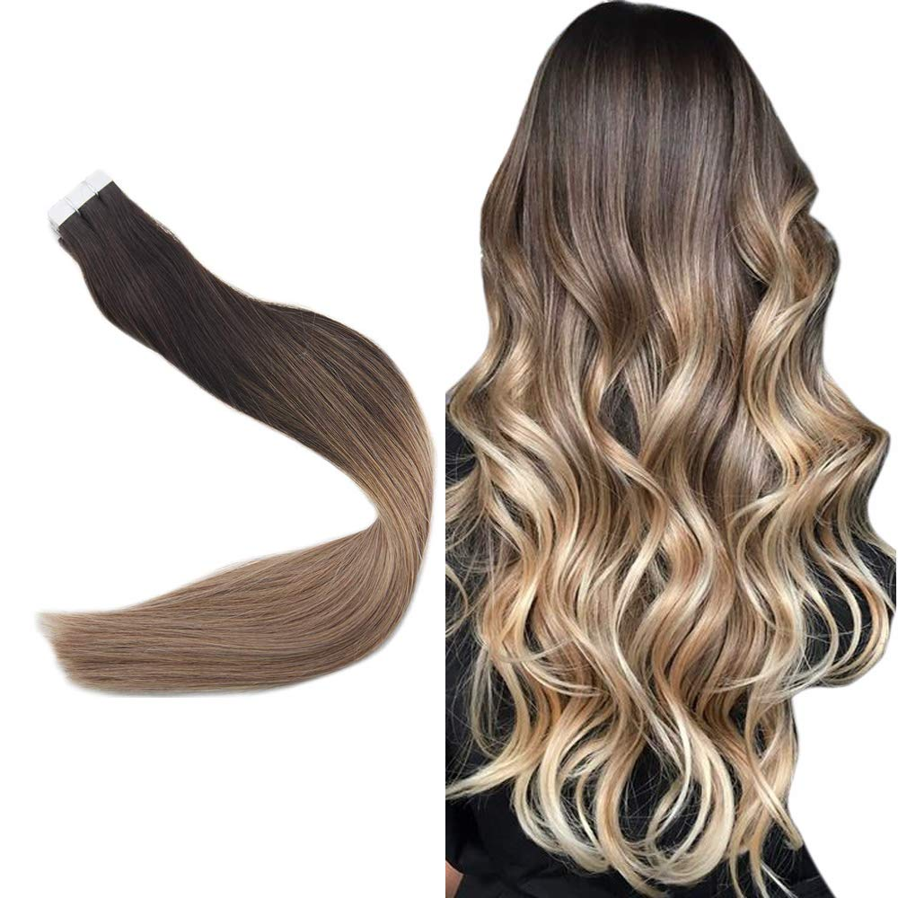 """Easyouth 20"""" Seamless Skin Weft Tape On Hair Extensions Balayage Color #2 Fading To #6 Highlight With #18 Real Human Hair Double Side Tape In Extensions 50 Gram Per Pack"""