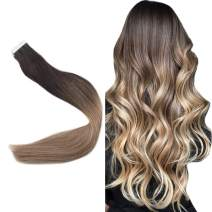 Easyouth 18inch Double Sided Tape in Hair Extensions 40 Gram 20 Pieces per Pack Balayage Color 2 Darkest Brown Fading to 6 Medium Brown And 18 Ash Blonde Adhesive Skin Weft Glue in Hair Extensions