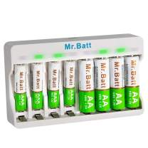 AAA Battery Charger, Mr.Batt Rechargeable Battery Charger with Rechargeable AA Batteries (4 Pack) and Rechargeable AAA Batteries (4 Pack)