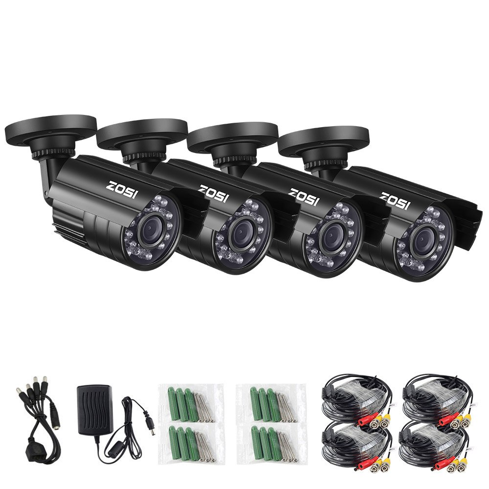 ZOSI 4 Pack 4-in-1 HD TVI/CVI/AHD/CVBS 1280TVL 1.0MP Security Camera 720P Indoor Outdoor Waterproof IP67 Infrared Night Vision Bullet Camera for 720P / 1080N / 1080P Analog DVR Systems