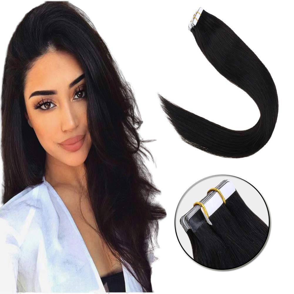 Black Hair Extensions Tape ins Salon Style 20pcs/50g/14in Solid Color Jet Black Double Side Tape Skin Weft Glue On Hair for Black Hair Girls