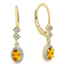 Dazzlingrock Collection 14K 5X3 MM Each Oval Gemstone & Round Diamond Ladies Dangling Drop Earrings, Yellow Gold