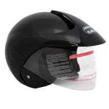 MMG 203 Motorcycle Open Face Helmet DOT Street Legal - Flip Up Clear Visor - Glossy Black, Large