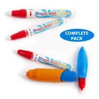 Visseto Aqua Drawing Doodle Replacement Pens   4 Water Pens, 1 Brush for Toddlers   Aqua Magic Pens Markers   Mess Free   Water Drawing Mat Pens Accessories