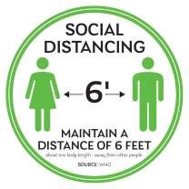 """Social Distancing Floor Decals - Safety Floor Sign Marker - Maintain 6 Foot Distance - Anti-Slip, Commercial Grade - 11"""" Round - White/Green (1)"""