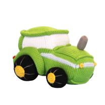 Zubels Baby Tobey The Tractor Hand-Knit Plush Rattle, All-Natural Fibers, Eco-Friendly, 100% Cotton