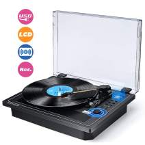 Record Player Turntable Wireless in & Out Record Player Built in Stereo Speakers Vinyl Records 3 Speed Turntable Player Support Vinyl-to-MP3 Recording USB SD Player (Multifunctional Record Player)