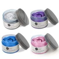 VOLLUCK 4 Colors Temporary Hair Dye Wax - 4 in 1 Grey Purple Blue Pink - Natural Matte Hairstyle Fashion DIY Hair for Party, Cosplay, Meeting, Bar