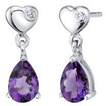 Sterling Silver Heart Dangle Drop Earrings in Various Gemstones
