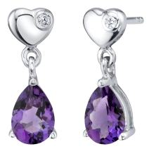 Sterling Silver Heart Dangle Drop Earrings in Various Gemstones