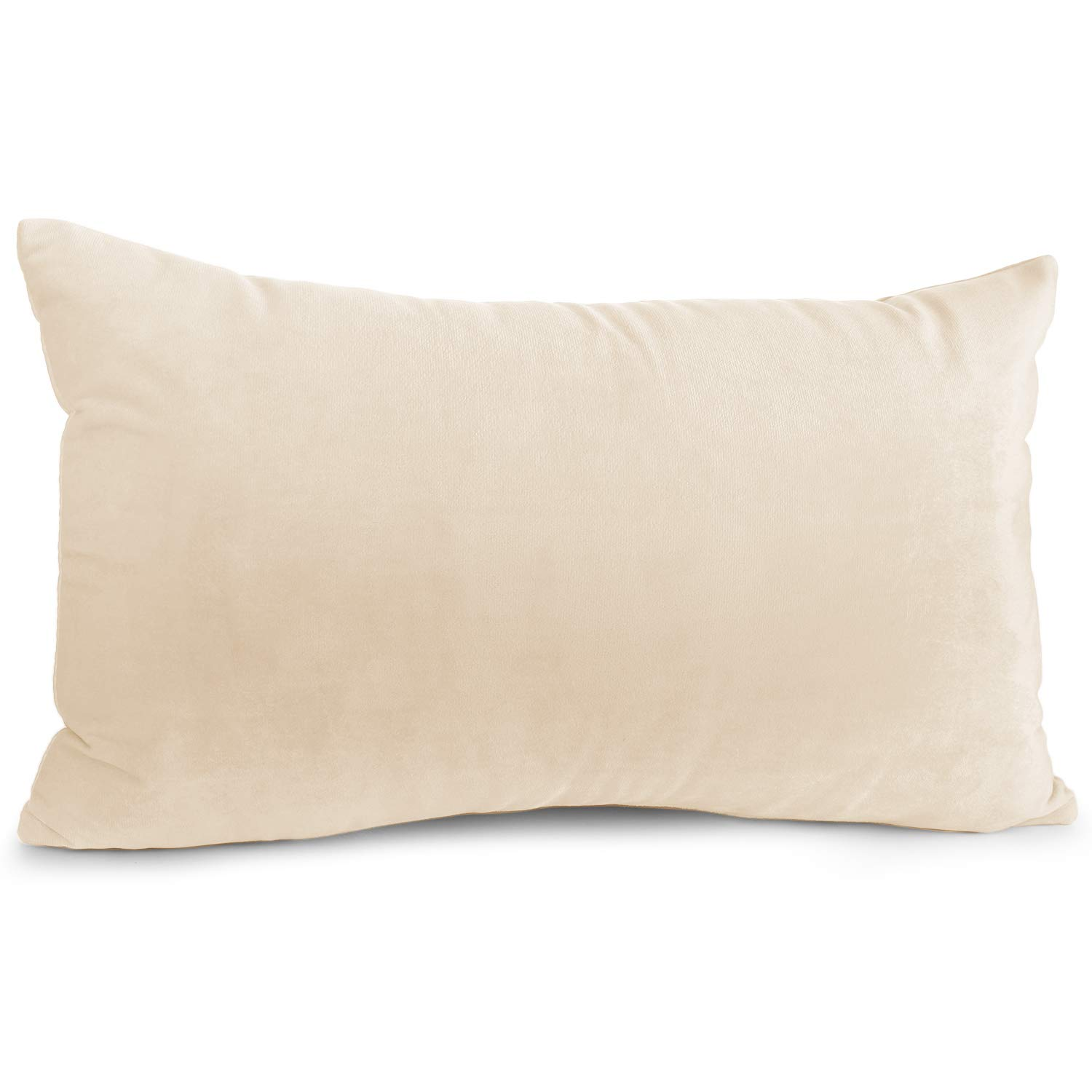 """Nestl Bedding Throw Pillow Cover 12"""" x 20"""" Soft Square Decorative Throw Pillow Covers Cozy Velvet Cushion Case for Sofa Couch Bedroom - Beige Cream"""