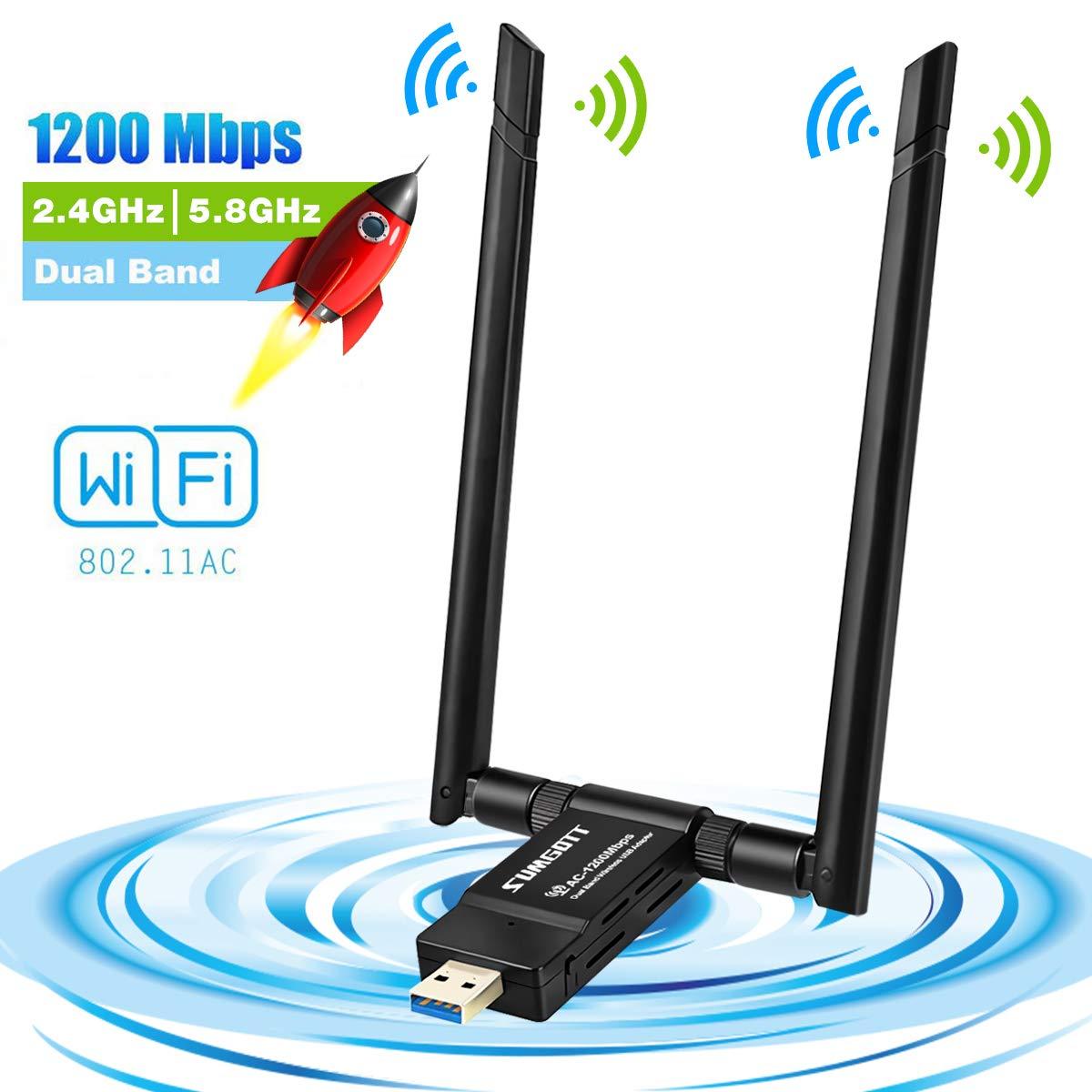 WiFi USB Adapter, WiFi Antenna USB WiFi Dongle USB 3.0 1200Mbps 5dBi WiFi USB Stick Dual Band 2.4GHz/5.8GH WiFi Adapter for PC Desktop Laptop MAC OS X Windows XP/Vista/7/8/10