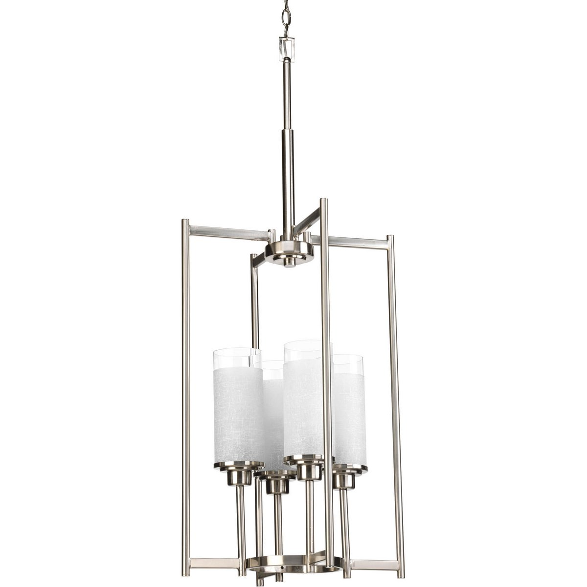 Progress Lighting P3977-09 Transitional Four Light Foyer Pendant from Alexa Collection in Pwt, Nckl, B/S, Slvr. Finish, Brushed Nickel