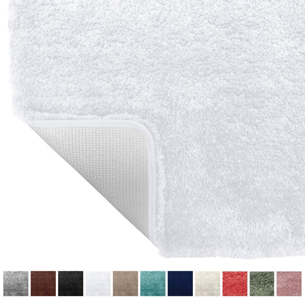 Gorilla Grip Original Premium Luxury Bath Rug, 24x17 Inch, Incredibly Soft, Thick, Absorbent Bathroom Mat Rugs, Machine Wash and Dry, Plush Carpet Mats for Bath Room, Shower, Hot Tub, Spa, White