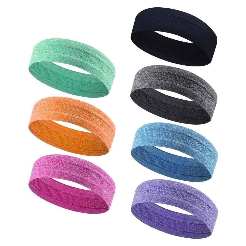 GonHui Sport Headbands for Women Men Anti-Slip Sweatbands for Yoga Gym Running Cycling Basketball (7 Colors Mix and Match)