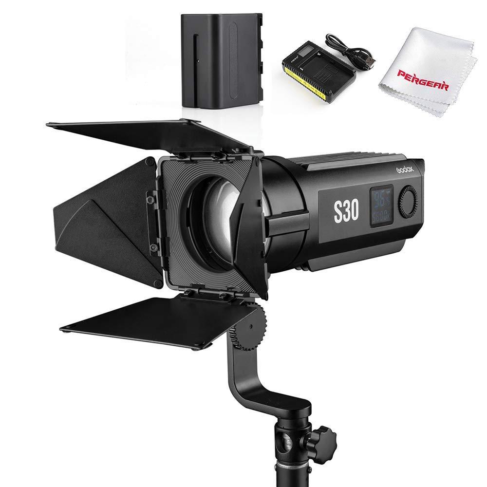 Godox S30 Focusing LED Light with SA-08 Barndoor & 6600mAh Battery Charger Kit, 30W Daylight LED Studio Fresnel Spot Light, CRI96+ TLCI96+ Accurate Color Rendition, 10%-100% Brightness Adjustable