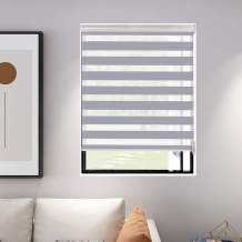 "Didoya Zebra Roller Blinds, Dual Layer Shades, Sheer or Privacy Light Control, Day and Night Window Drapes, Zebra Blinds Custom Cut to Size, Maxium Height 79in, 13 to 90inch Wide(19"" W x 64"" H  Grey"
