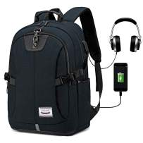 Travel Laptop Backpack,Anti Theft Business Computer Bag for Women and Men, Slim Water Resistant College School Bookbag with USB Charging Port Fits UNDER 17 Inch Laptop & Notebook by LACATTURA - Black